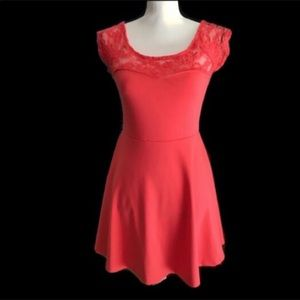 Coral & Lacy Dress by Ambiance Apparel, Medium